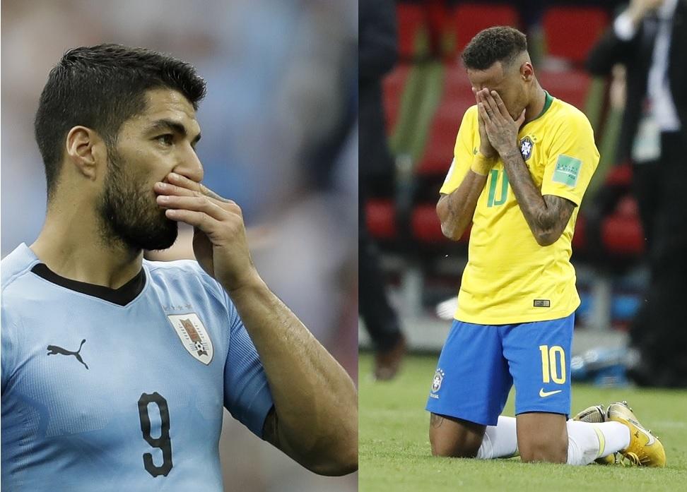 鸟拉圭苏亚雷斯与巴西尼马都无缘与队友晋级四强。美联社