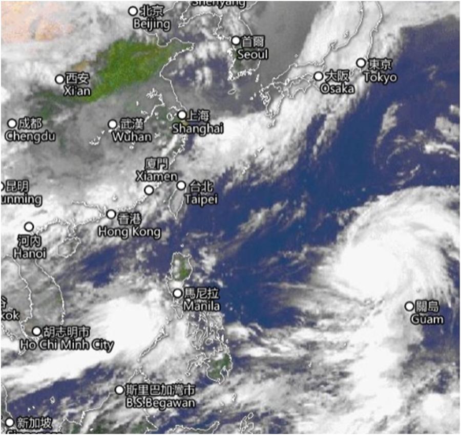 超強颱風位處關島附近。