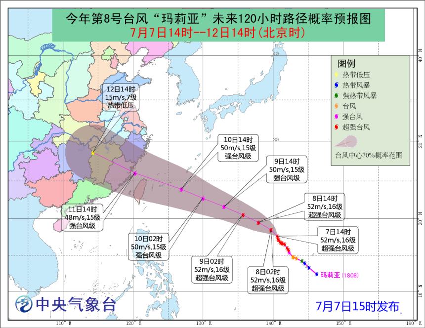 内地中央氣象台預測瑪莉亞登陸福建。
