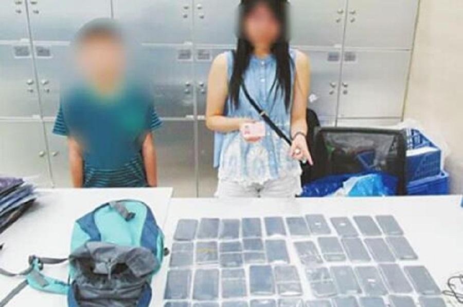 9歲香港男童綁藏40部iphone闖關珠海。網上圖片
