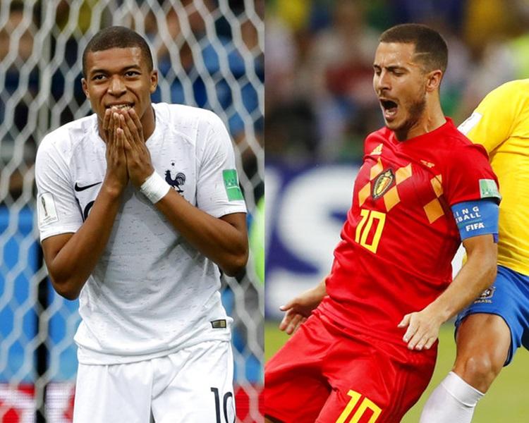 法國(左)和比利時(右)將爭入決賽。AP
