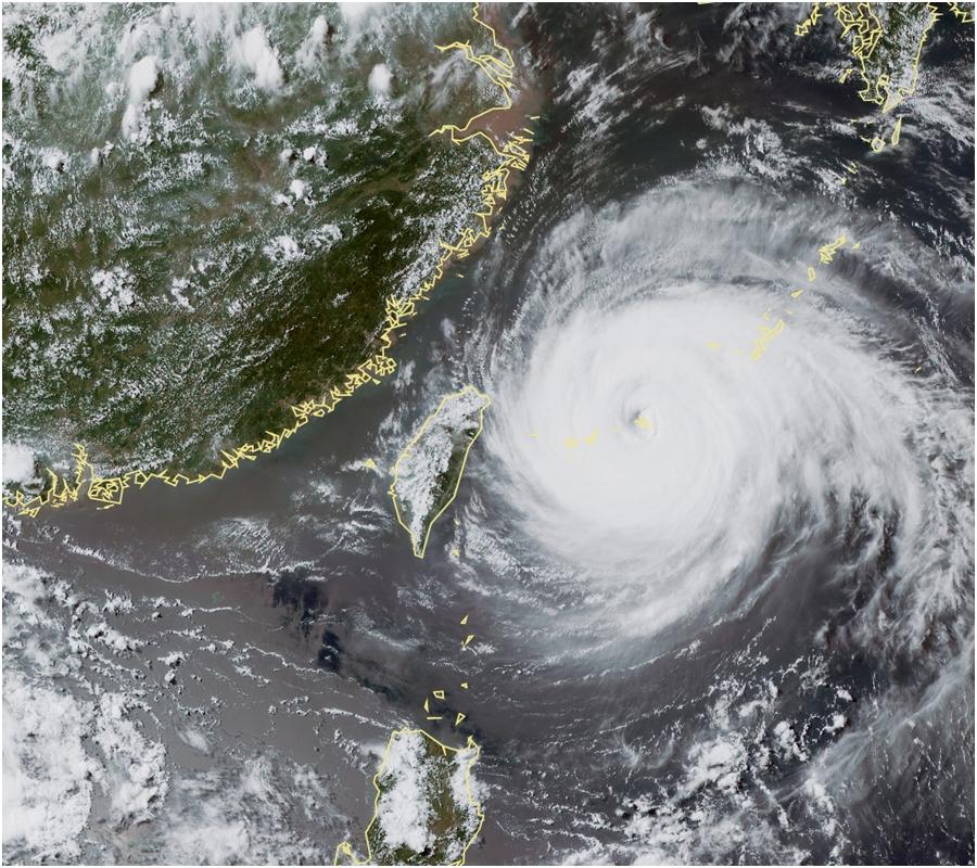 超強颱風「瑪莉亞」持續逼近台灣。中央氣象局圖片