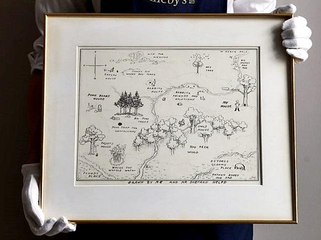 1926年出版的《小熊維尼》百畝森林插圖以446萬元成交。