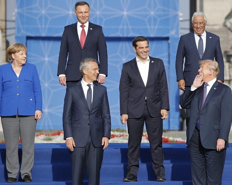 特朗普在布魯塞爾出席北約高峰會。AP