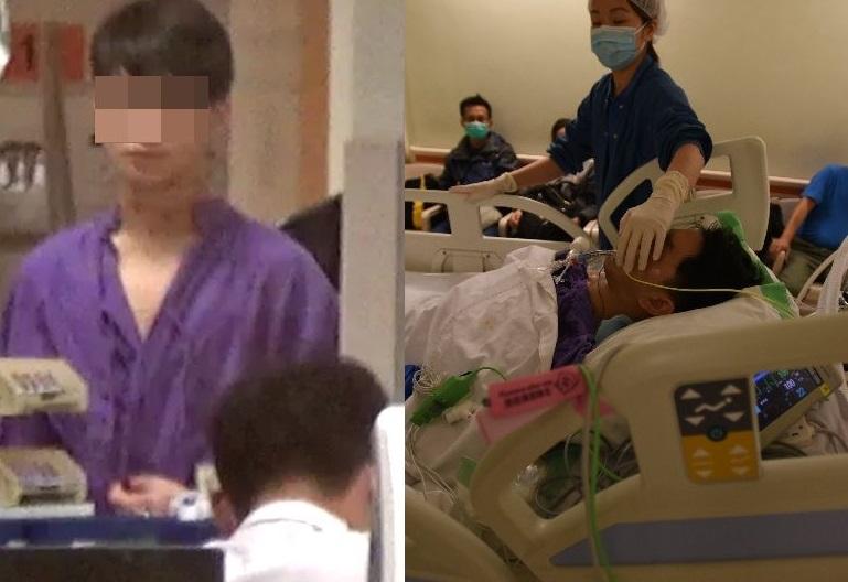 被告劉浚生(左),刺破友人(右)的頸項。