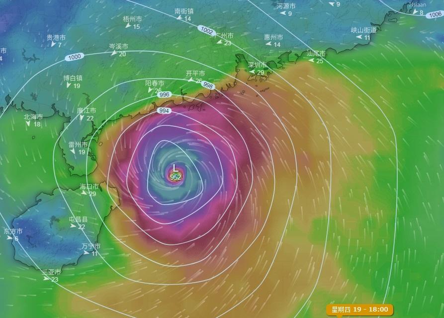 歐洲預報料風暴下周四靠近廣東西部至海南島。