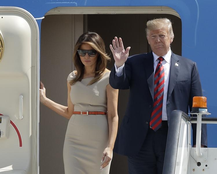 梅拉尼婭跟隨丈夫特朗普展開歐洲的訪問行程。AP