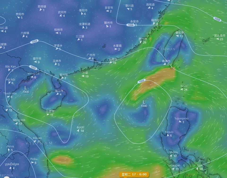 美國的全球預報系統(GFS)預測一個微弱低壓區進入南海。