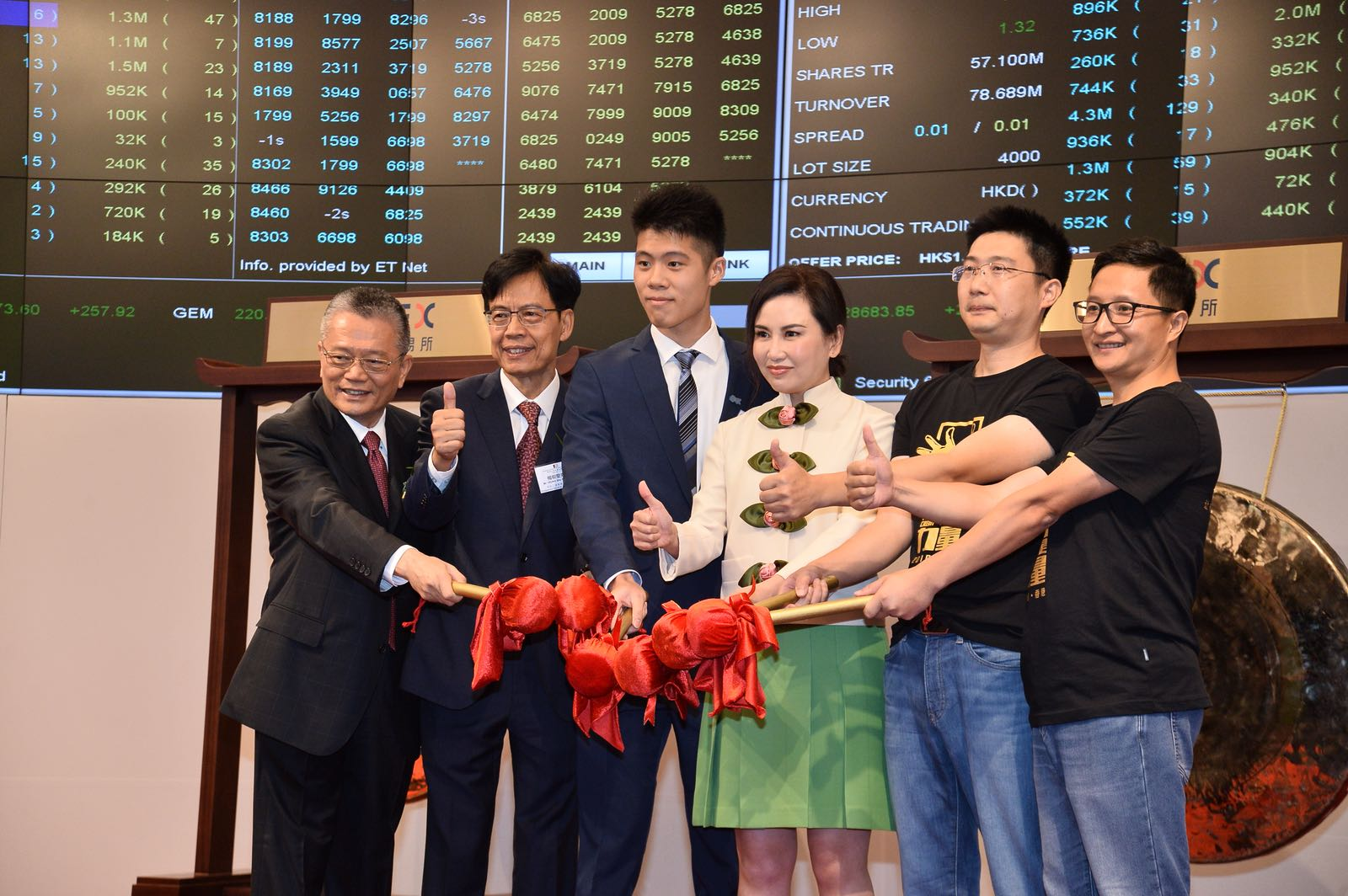 June Leung及梁冠康(左三)今日共同敲鑼。