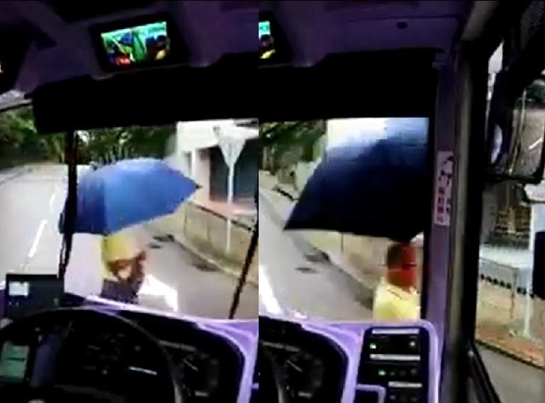 城巴司機左轉時,剛巧有男途人過馬路,但城巴未有停低並不停響咹,最後撞到途人。影片截圖