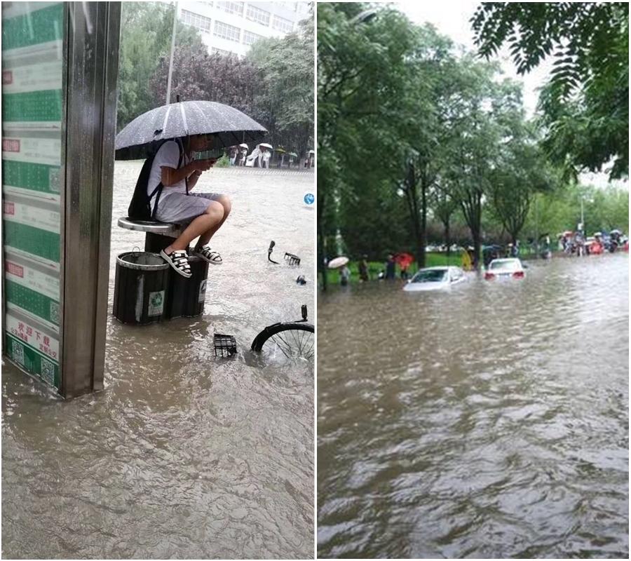 北京天津等地出現水災。網上圖片