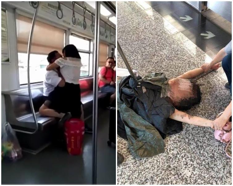 男乘客被該名女子咬得痛苦大叫。片段截圖