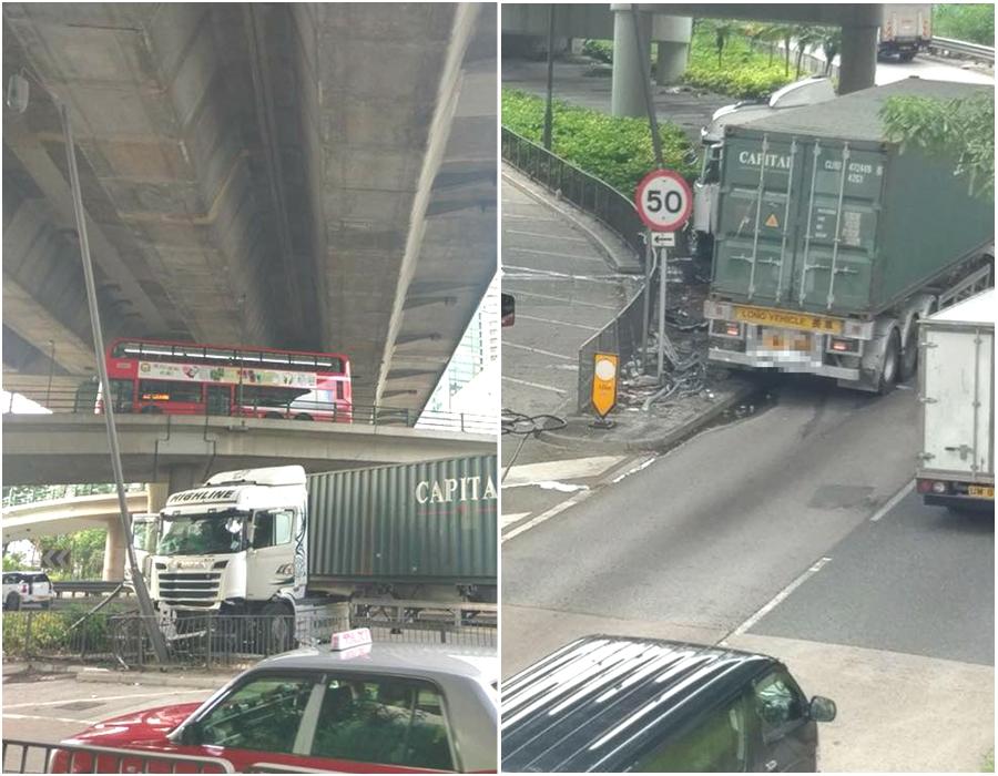 荔枝角道貨櫃車失事。