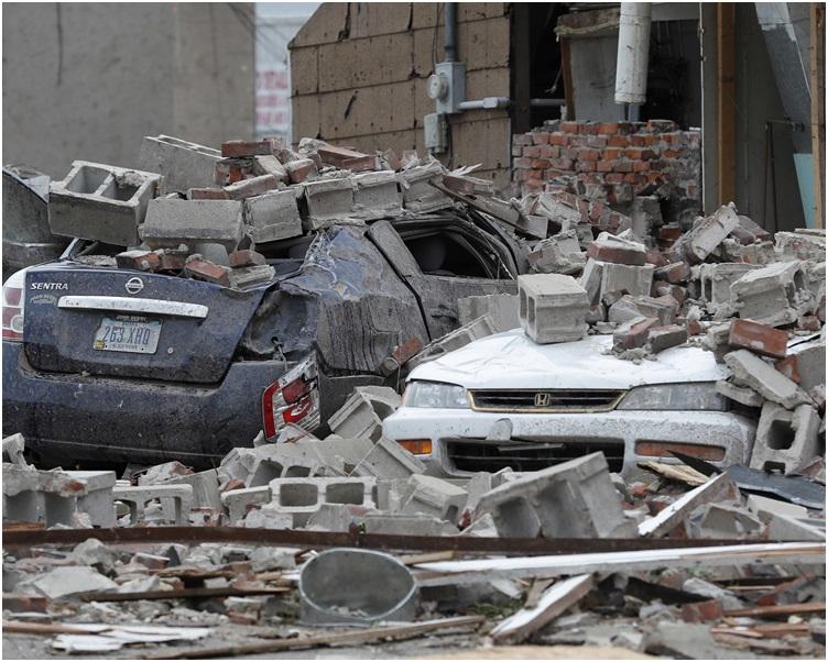 多處建築被損毀。AP
