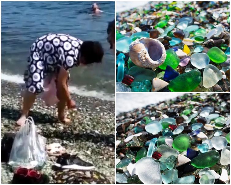 2名中國大媽將海灘上的「彩色石頭」當作免費紀念品。片段截圖; 網圖