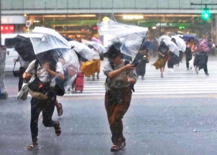 日本東京橫風橫雨。網上圖片