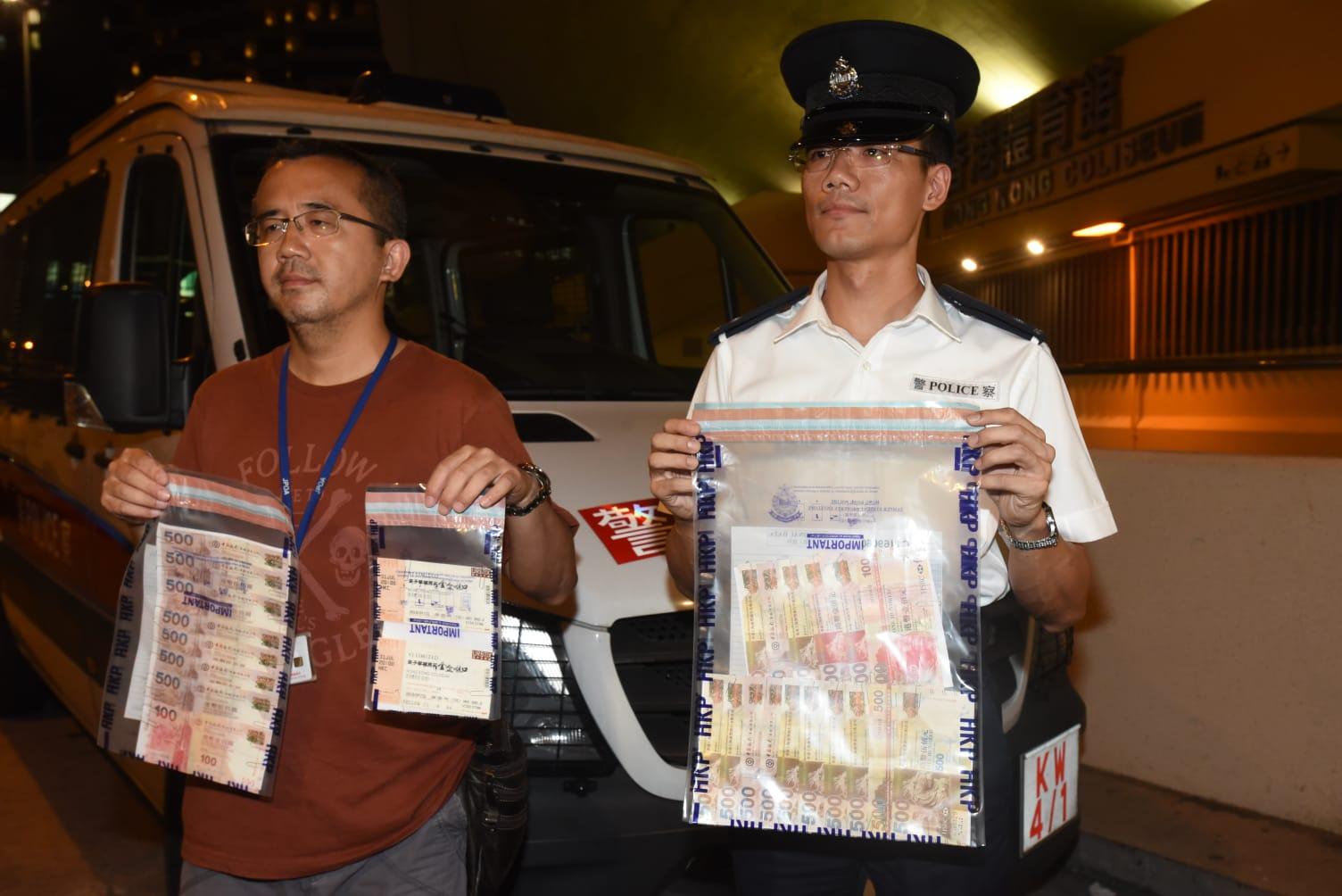 警方搜出6張門票及10500元現金