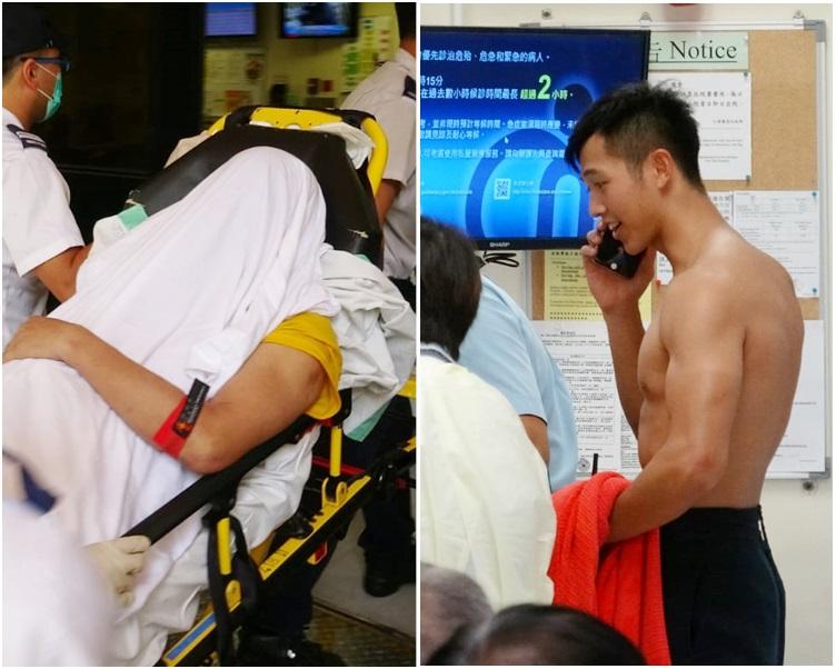 圖右,落海救人的警員。圖左,事主獲救後清醒送仁濟醫院治理。