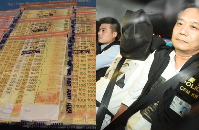 警方暫檢獲12隻名表、一條黃金手帶與170多萬港元及數萬元人民幣。尹敬堂攝