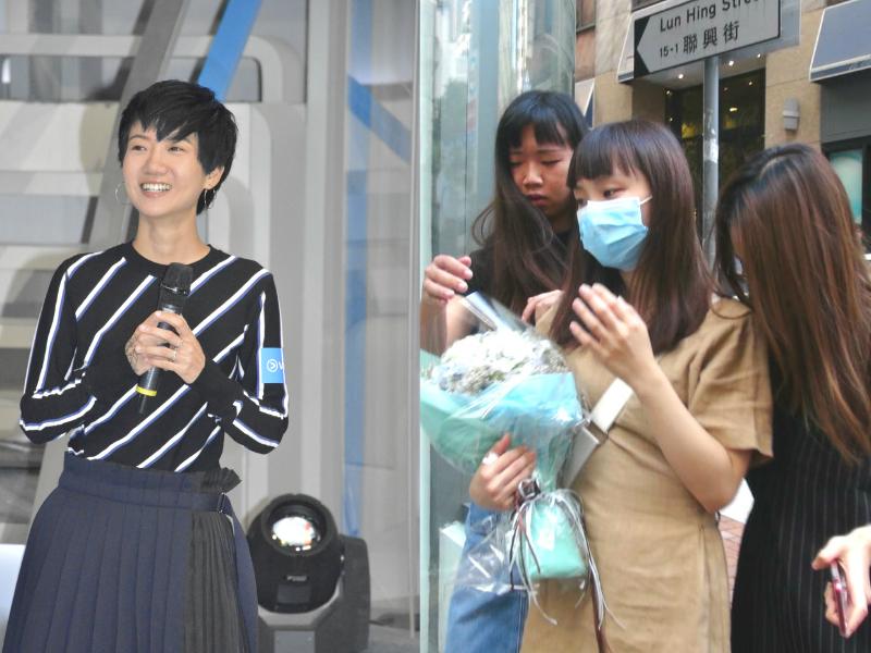 女歌手盧凱彤(左圖)墮斃;有歌迷到住所獻花悼念。