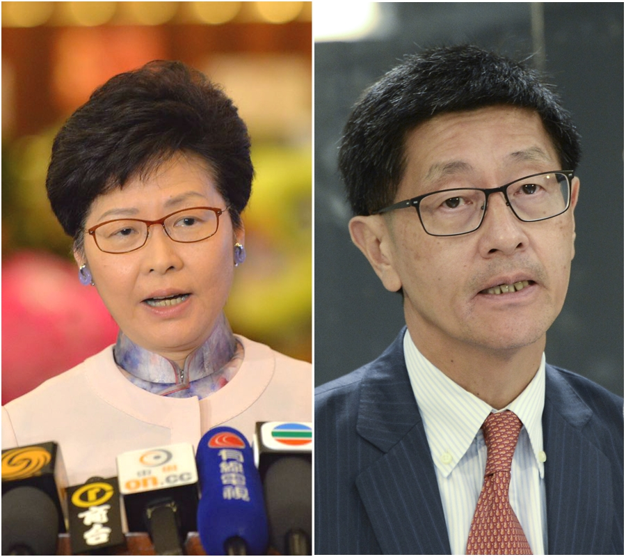 林鄭月娥(左)質疑梁國權沒有在事件曝光後做好監督工作。