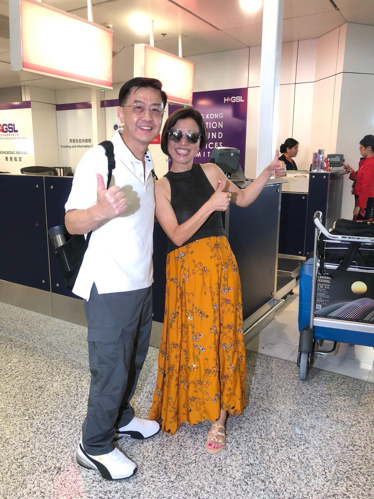陳凱琳父母現身機場「四萬咁口」。