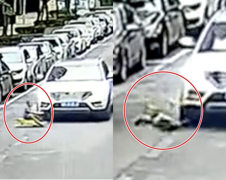 廣西一名男童於路中心玩滑板車被輾斃。網上圖片