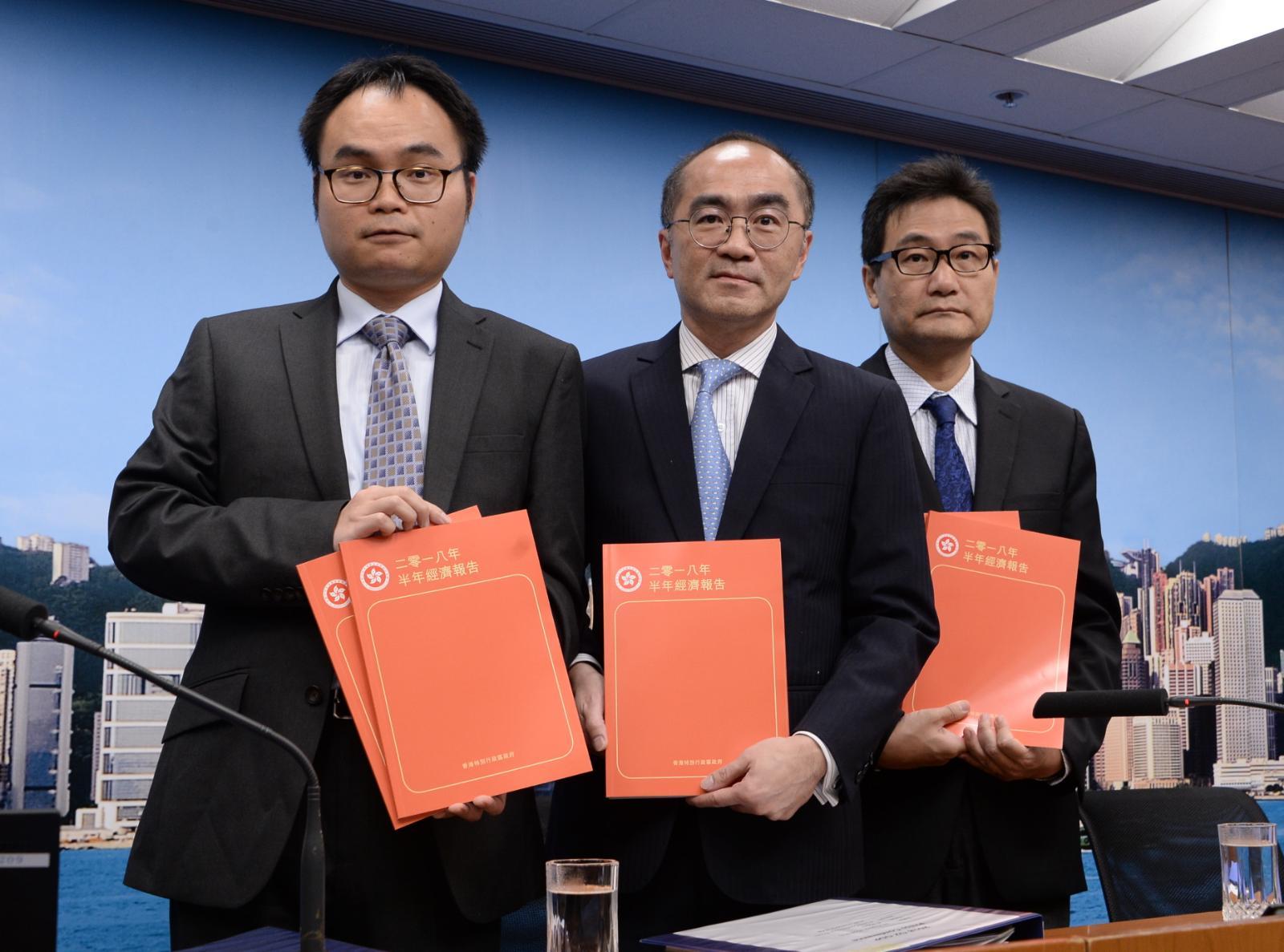 政府公布2018年第二季經濟狀況,第二季經濟按年升3.5%,但較第一季的按年增幅低。陳浩元攝