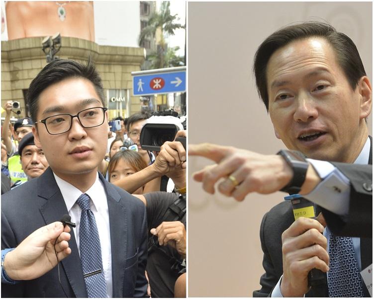 陳智思(右)指陳浩天要求外國政治人物介入香港事務,行為愚蠢。