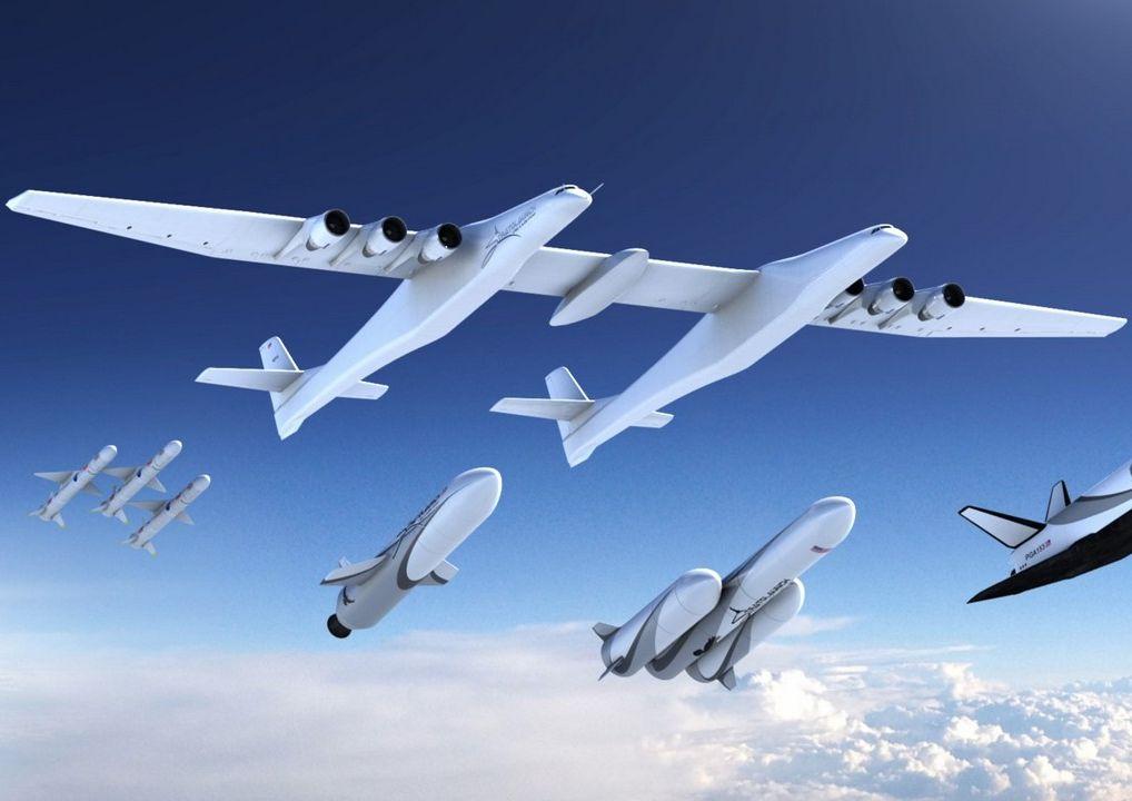全球最大雙機身飛機Stratolaunch。網圖