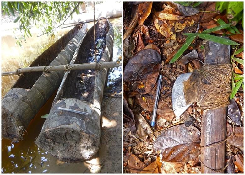 該會深入林中,發現被土著棄置的石斧、用樹皮製成的號角以及獨木舟。網圖