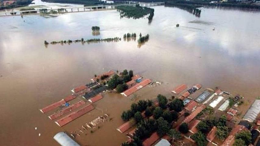 山東水庫突泄洪淹村。網圖