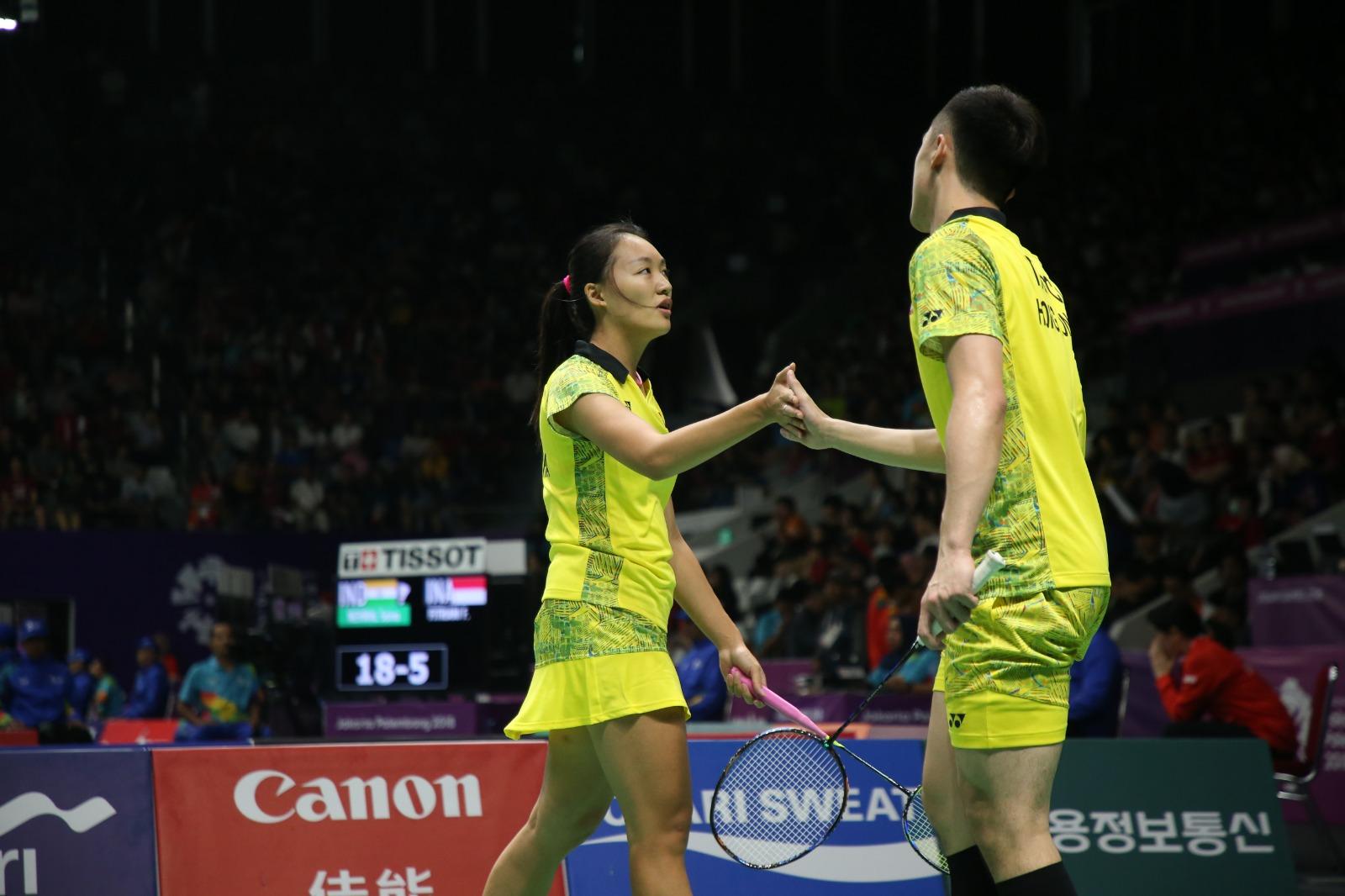 鄧俊文/謝影雪於羽毛球混雙8強穩奪銅牌。王嘉豪攝