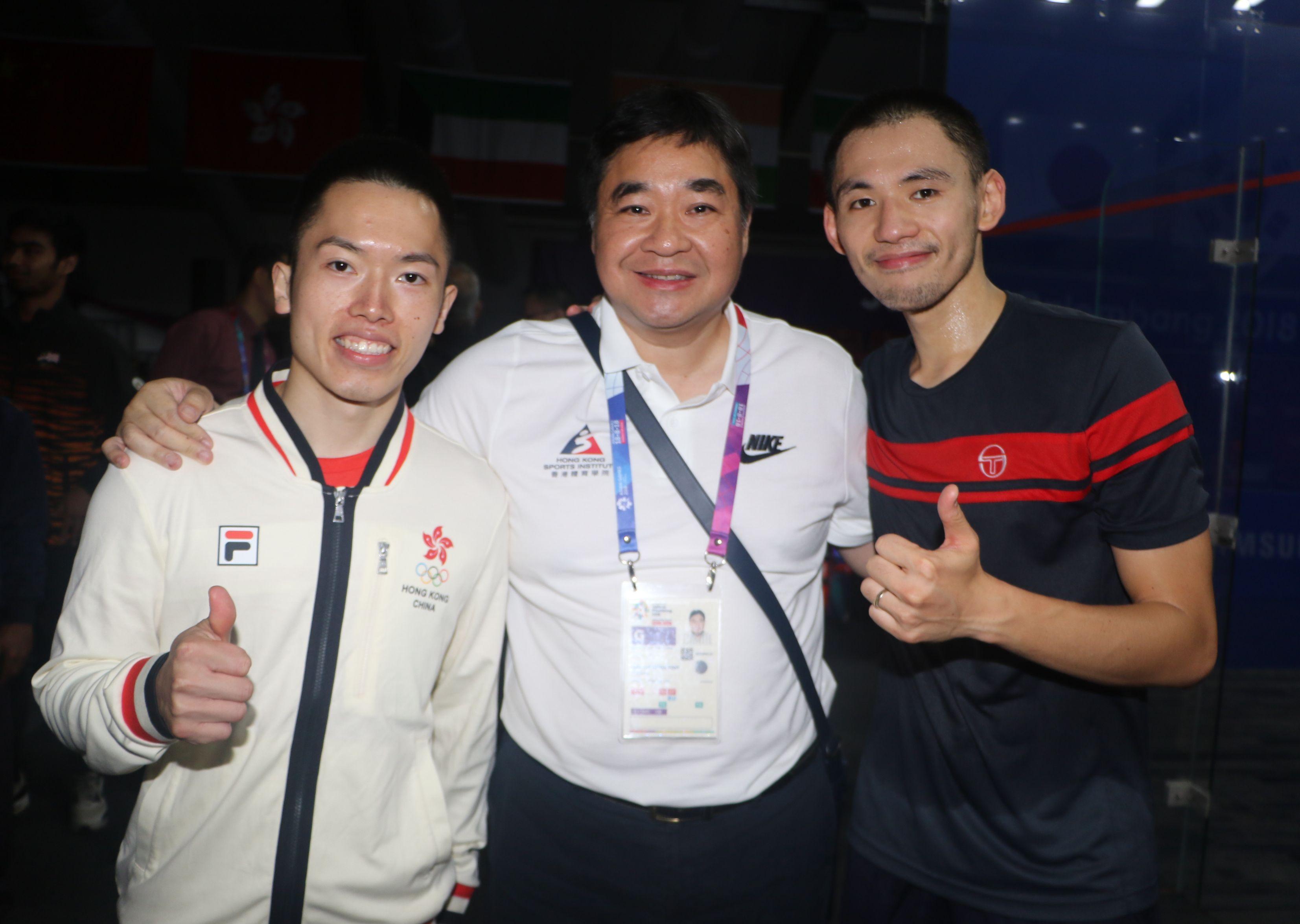 歐鎮銘(左)與李浩賢(右)雙雙晉級男子組決賽,創下壁球隊最佳戰績