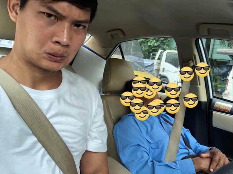 泰國一名的士司機累到打瞌睡,男乘客抓過軚盤自己開。(網圖)