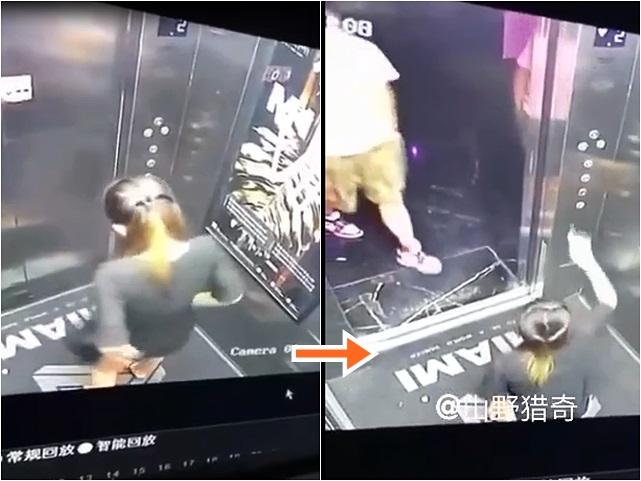 長髮女升降機內就地解決,期間𨋢門打開,場面尷尬。影片截圖