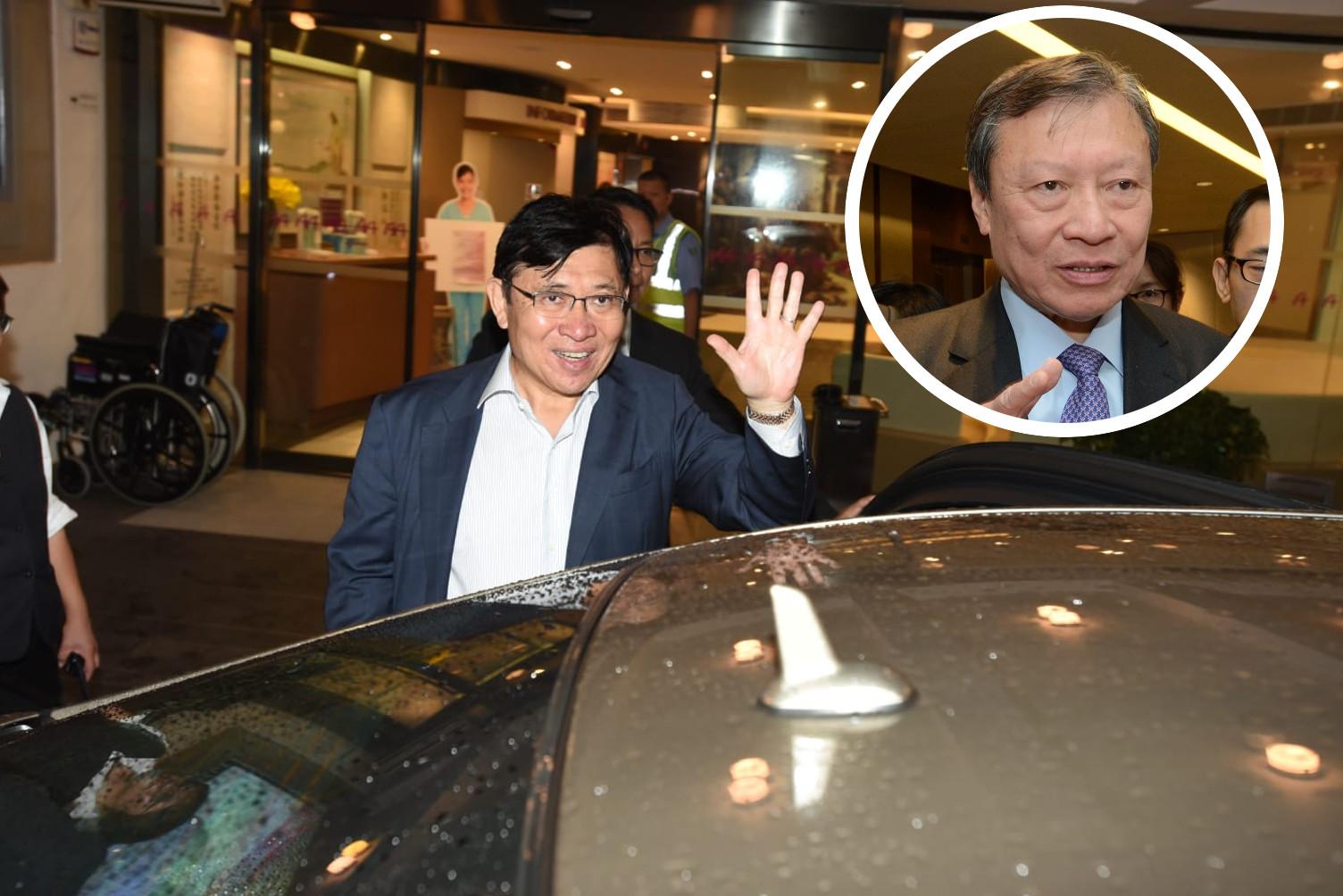 郭炳聯向傳媒表示,醫生仍監察郭炳湘(小圖)情況,多謝關心。楊偉亨攝