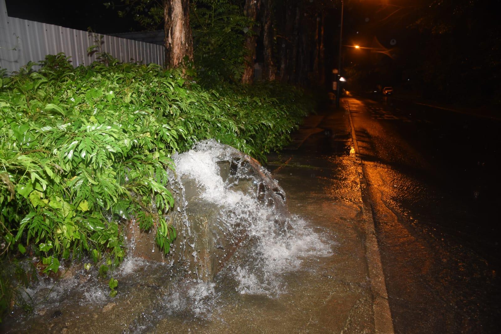 暴雨一度令村內水浸。