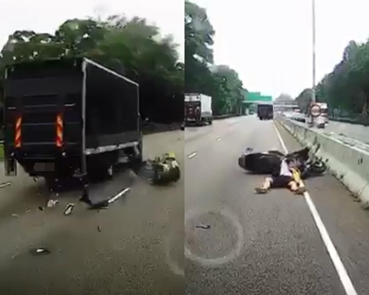 電單車撞上貨車。網上截圖