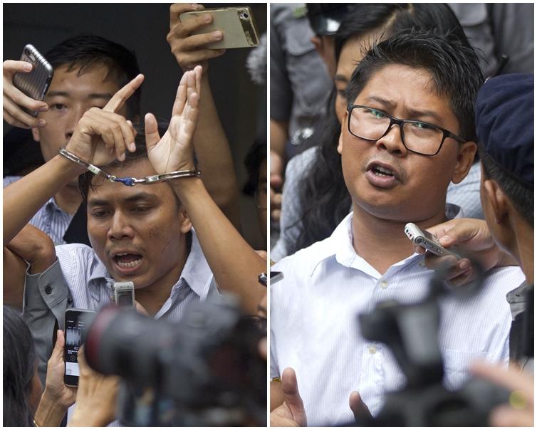 路透社記者瓦隆(右)和喬索歐(左)。AP