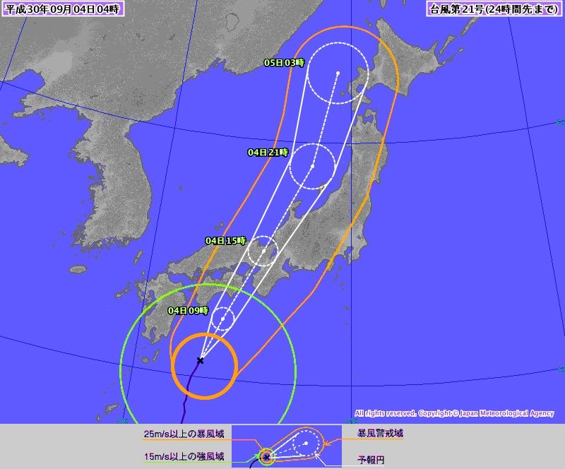 日本氣象廳預測強颱風「飛燕」的路線圖。(網圖)