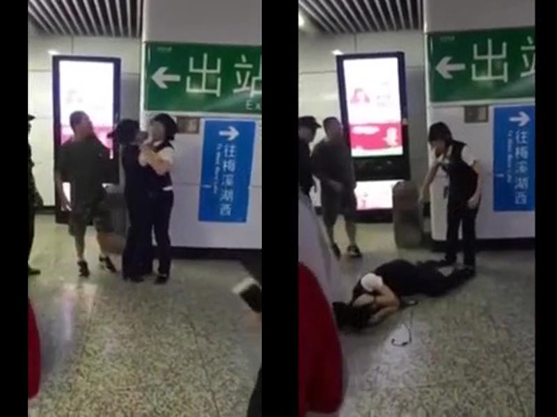 湖南長沙地鐵站內,一名惡漢吸煙被職員勸阻,惡漢一把掌打向兩名女職員,其中一名倒地不起。(網圖)