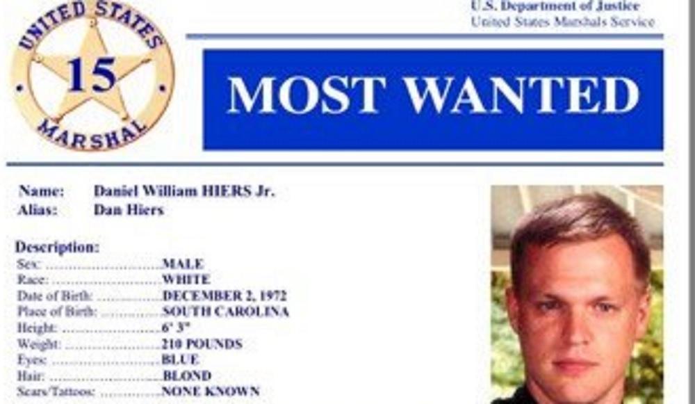 根據美國司法部公布的信息,Daniel William Hiers名列美國通緝犯名單。(網圖)