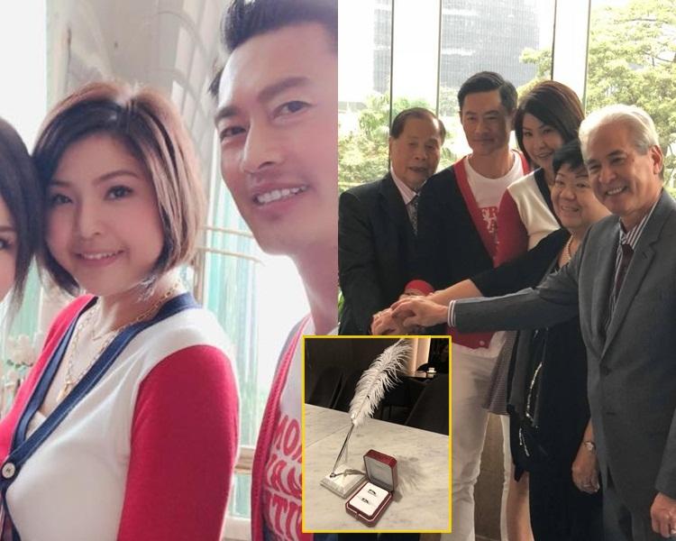 德斌同Joyce穿上情侶外套簽紙結婚,及與雙方家長切蛋糕。(June Leung fb圖片)