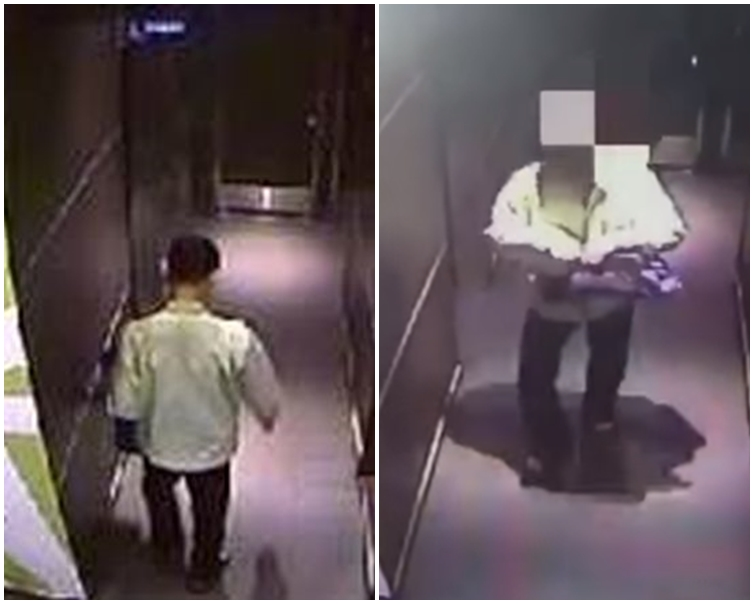張男藏在女廁超過一個小時。網圖