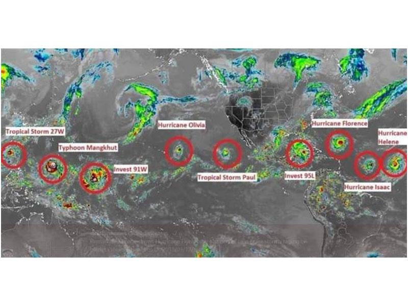 有网民发现,全球热带地区本周出现9个具威胁的气旋或潜在气旋!(网图)