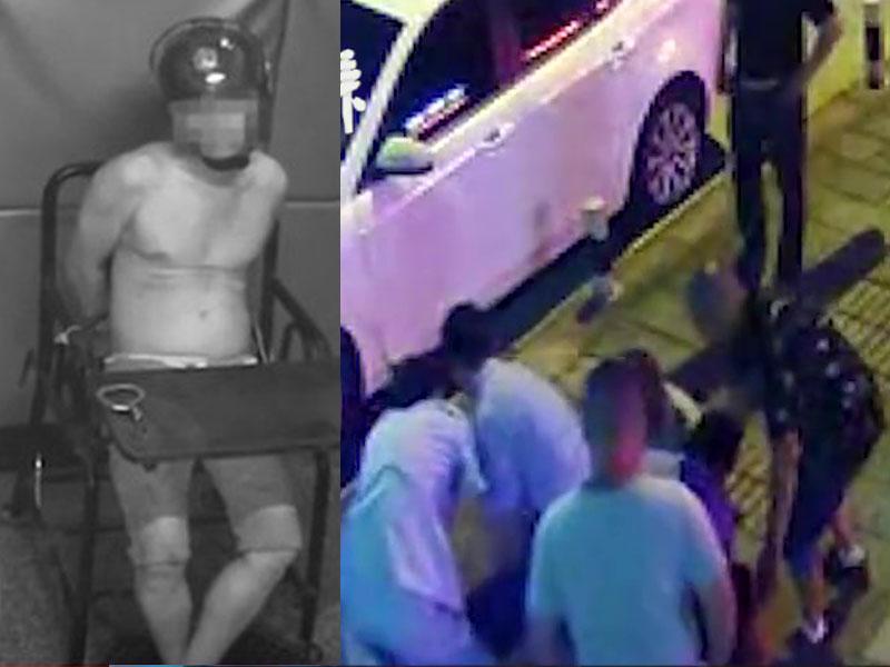 警民合力才將醉酒打老婆的狠父制伏在地。(網圖)