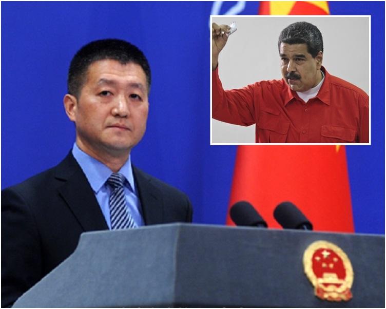 陸慷宣布馬杜羅(小圖)今日起至16日對中國進行國事訪問。資料圖片