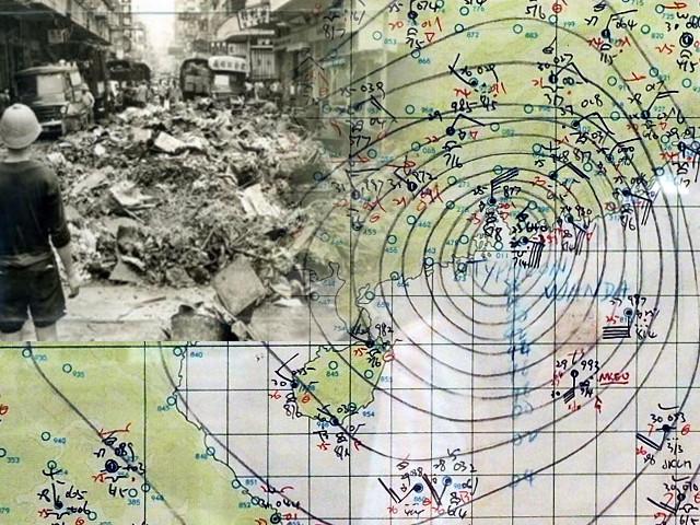 昔日颱風象圖要由天文台職員人手繪畫。