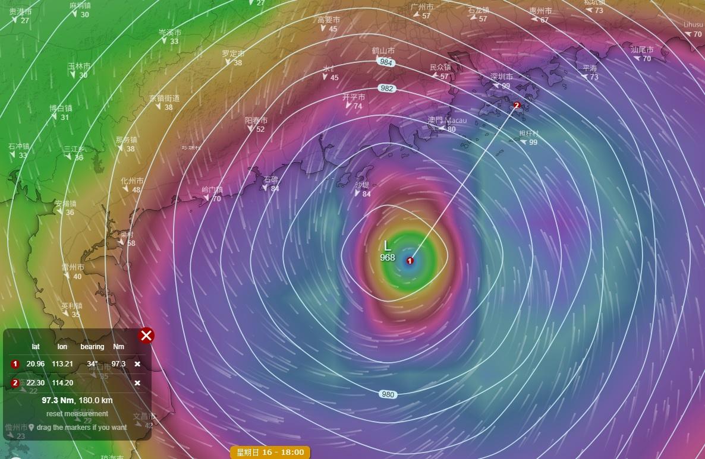 美國全球系統預測「山竹」在香港西南150至200公里之間位置掠過。網上圖片